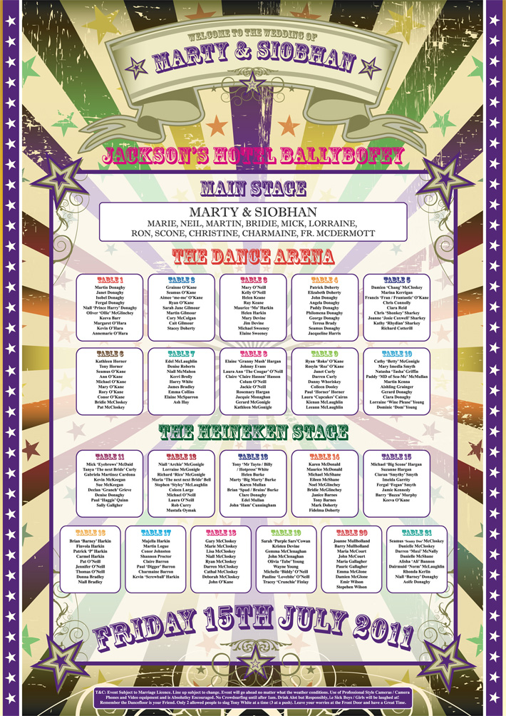 Festival wedding table plan poster wedfest for Unusual table plans