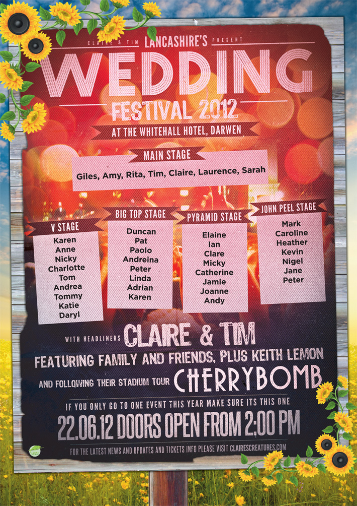 festival style wedding table plan poster | wedfest