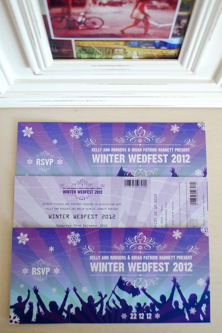 festival ticket wedding invitations