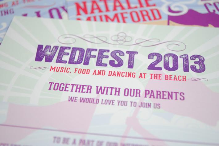wedfest beach festival wedding invitations