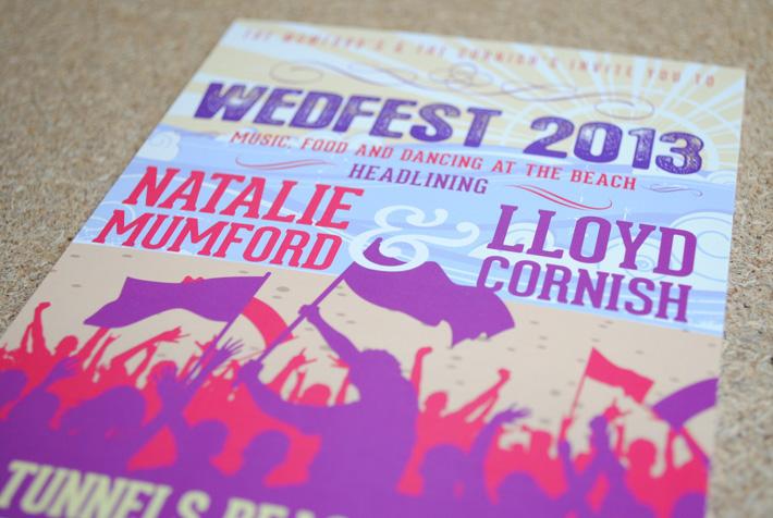 seaside festival wedding invitations
