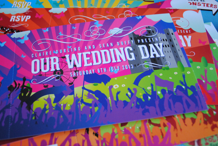 concert ticket wedding invites wedfest