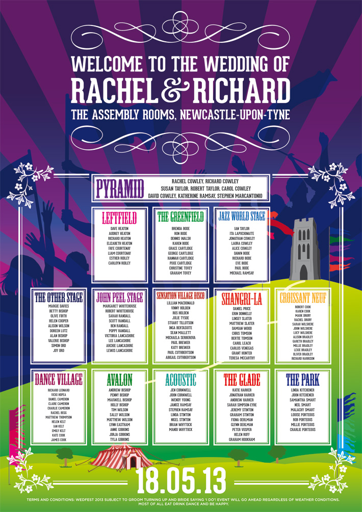 glastonbury themed wedding seating plan poster