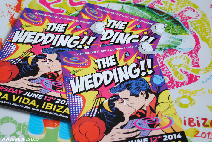 ibiza flyer themed wedding invitations