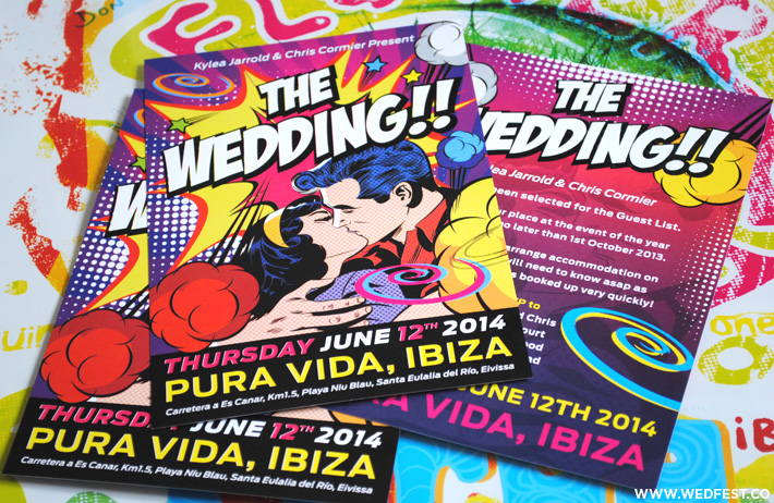 ibiza themed wedding invitations