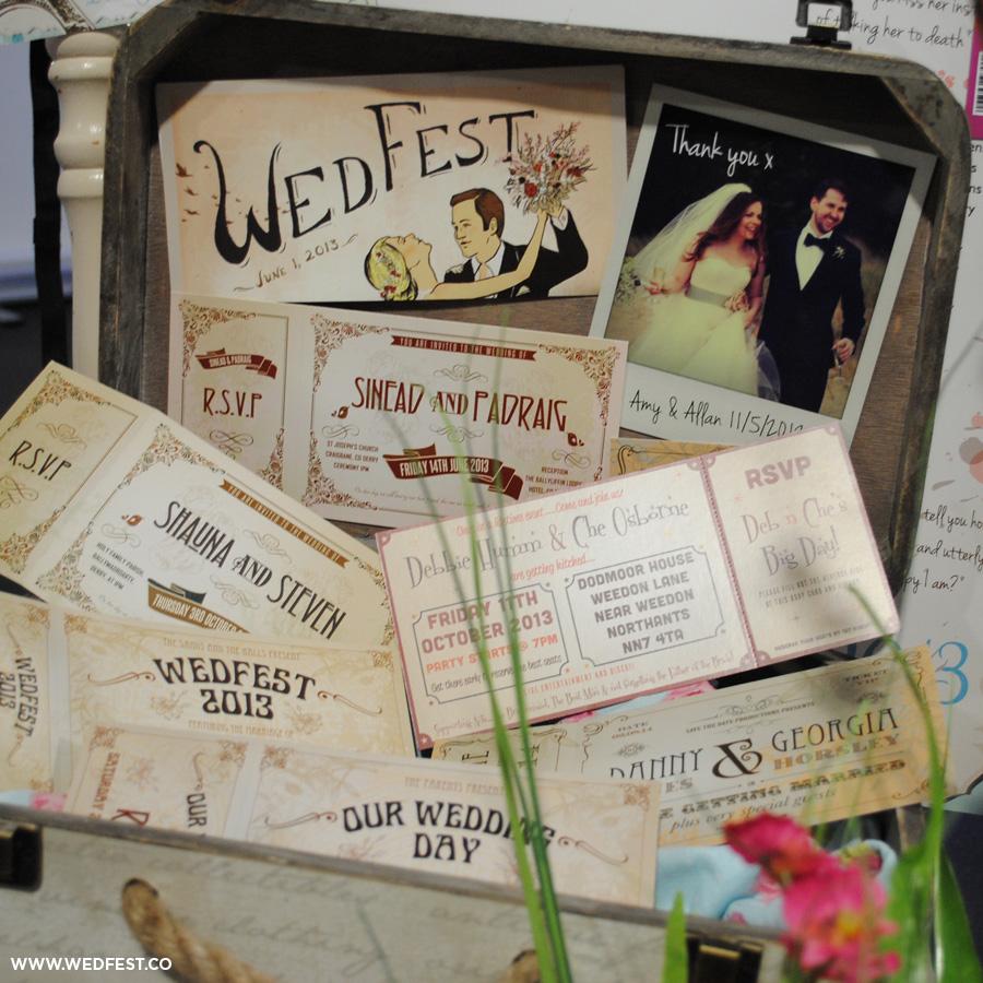 wedfest vintage chic festival wedding ticket invitations