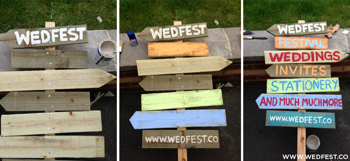 wooden festival wedding signs