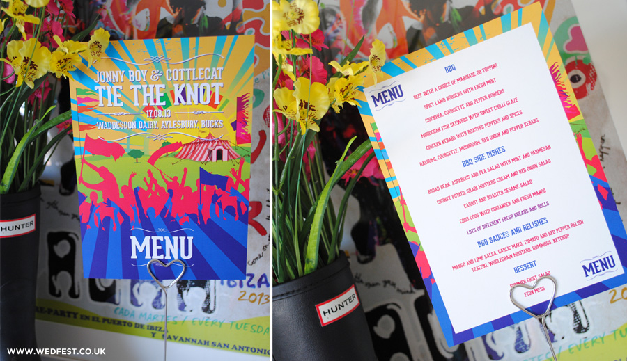 festival themed wedding table menus
