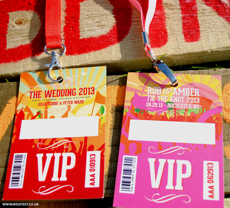 festival weddings vip lanyard place cards