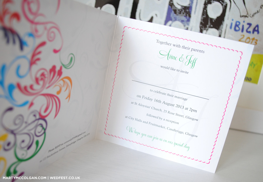 Rainbow Carnival Typography Wedding Invitations WEDFEST