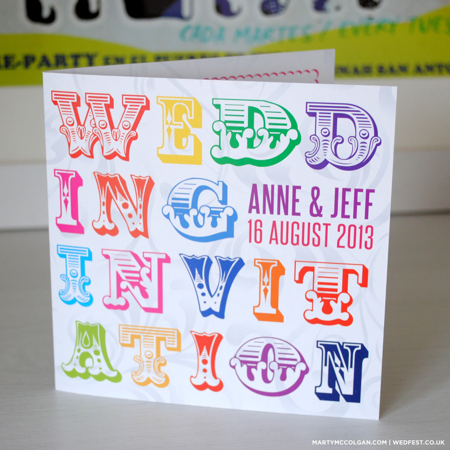 Rainbow Carnival Typography Wedding Invitations | WEDFEST