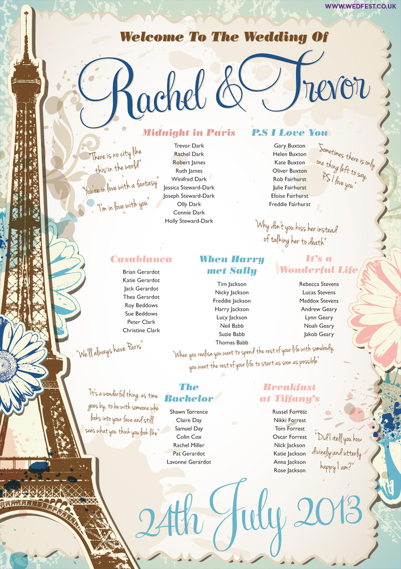 Vintage Shabby Chic Wedding Table Plans | WEDFEST