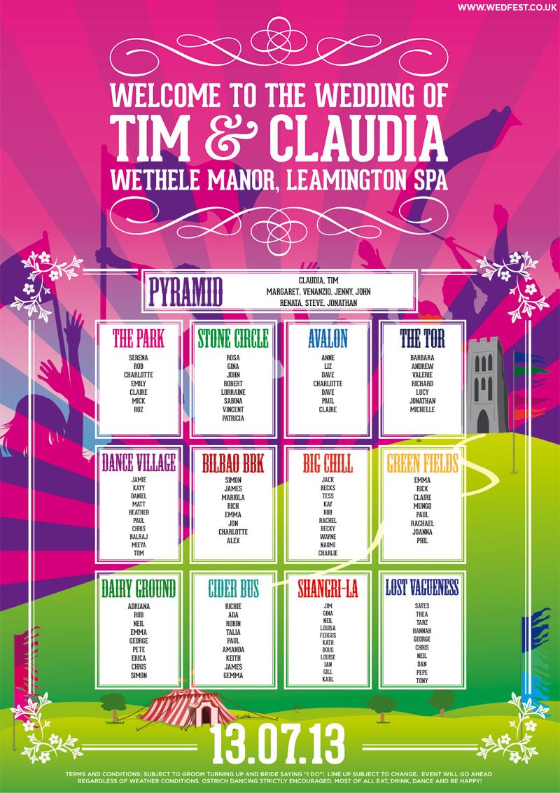 glastonbury festival inspired wedding table plan