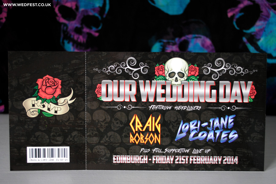 rock and roll skulls roses wedding ticket invitations