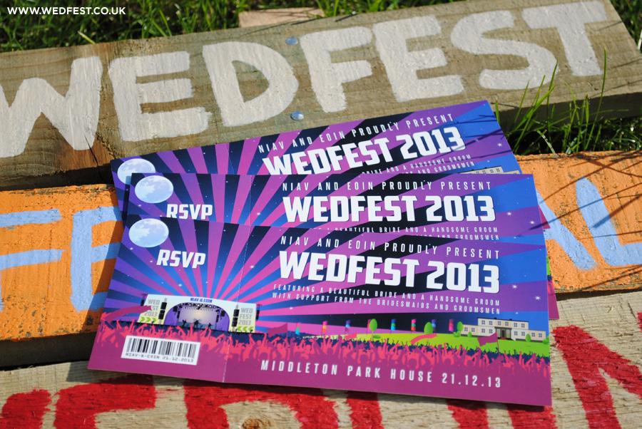 festival de música invitaciones de boda temática