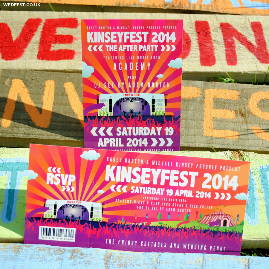 festival flyer and ticket wedding stationery