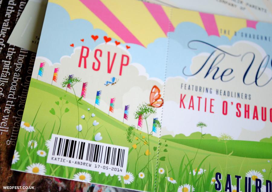 whimsical festival wedding invitations