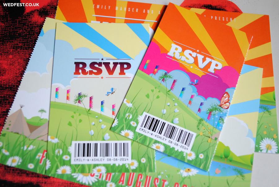 countryside festival wedding invites