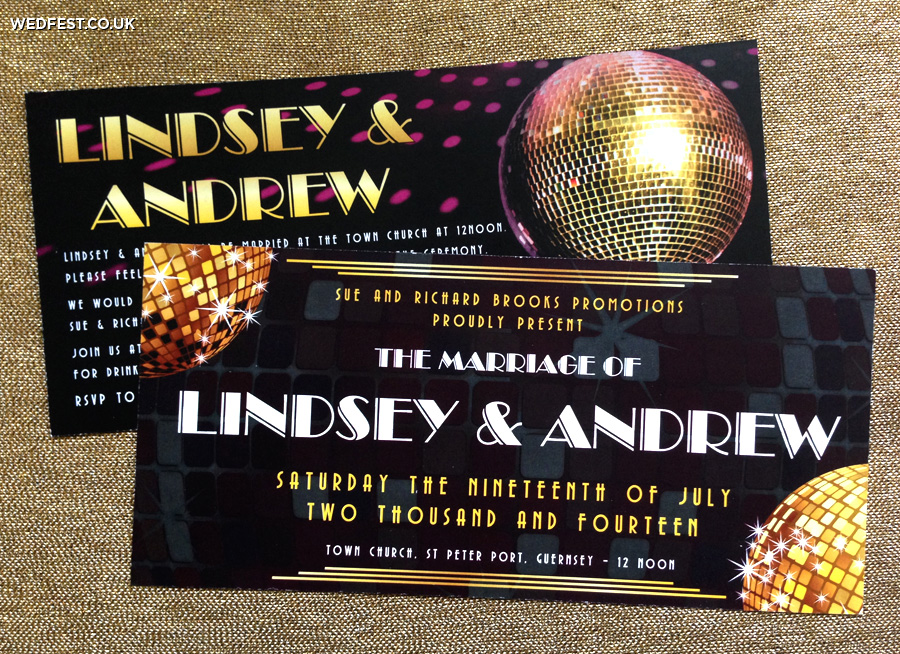 disco theme wedding invites