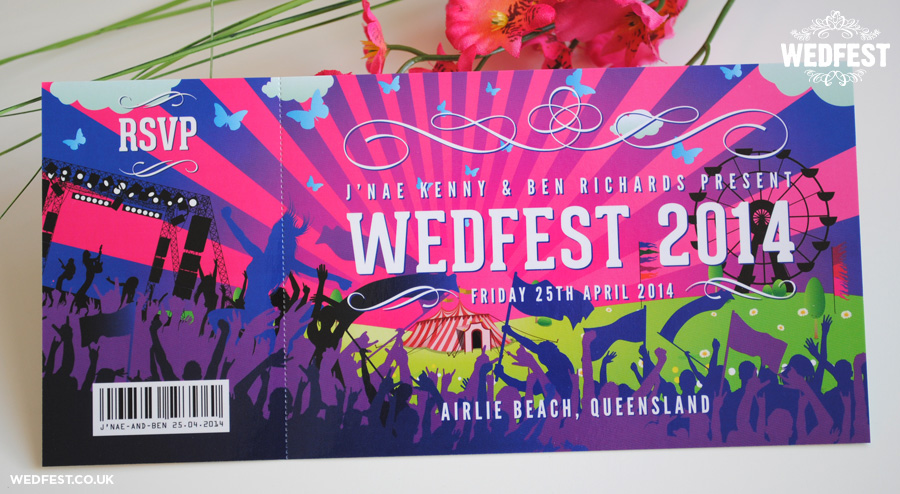 festival themed wedding invites australia