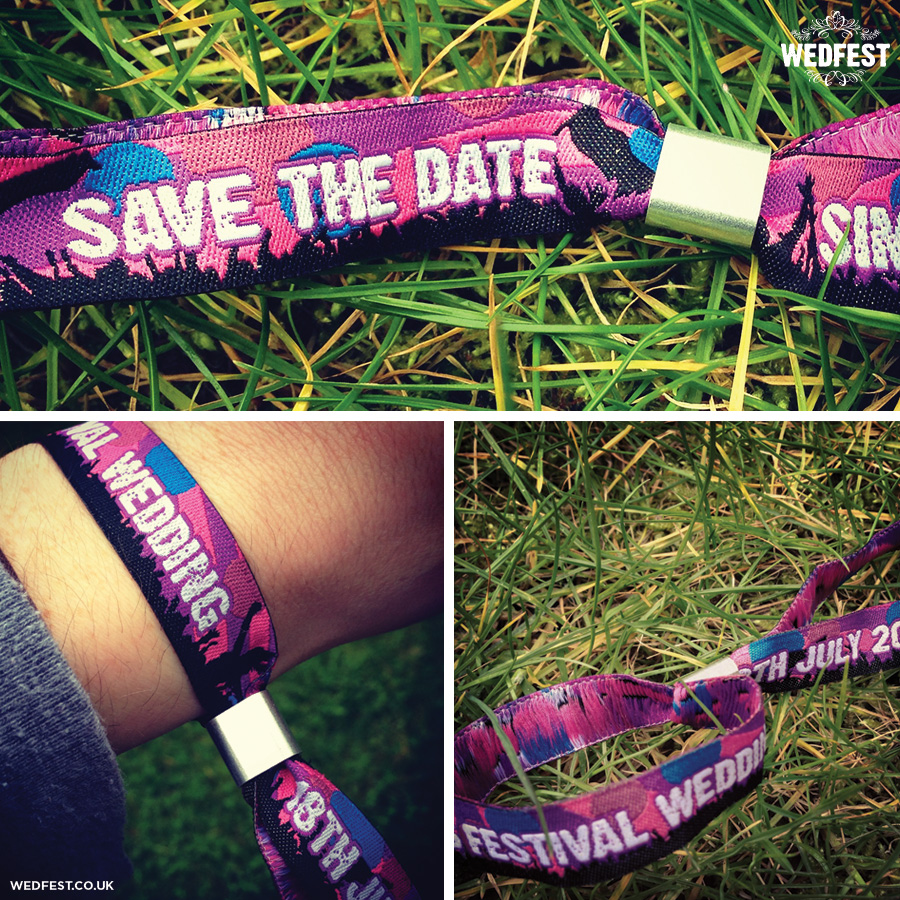 save the date festival wedding wristbands