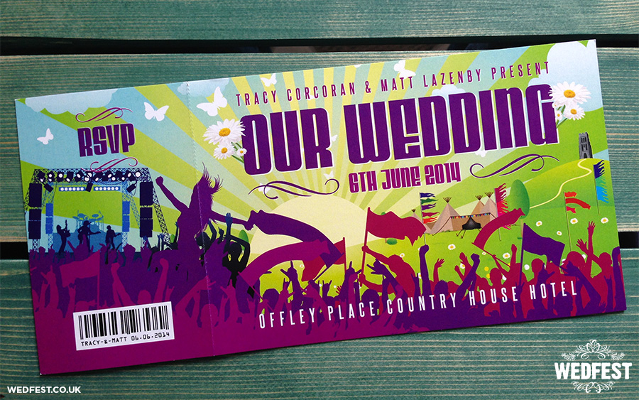 concert themed ticket wedding invites