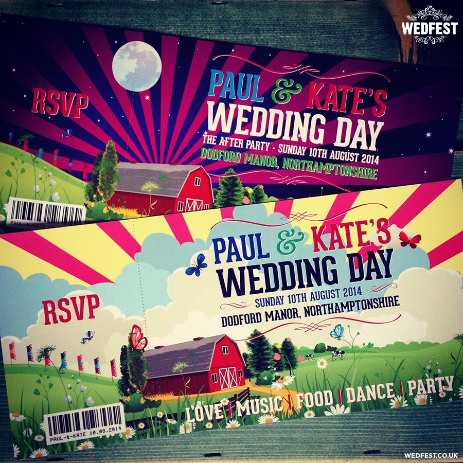 festival barn themed wedding invitations