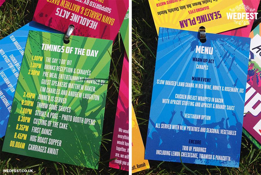 festival wedding menu running order