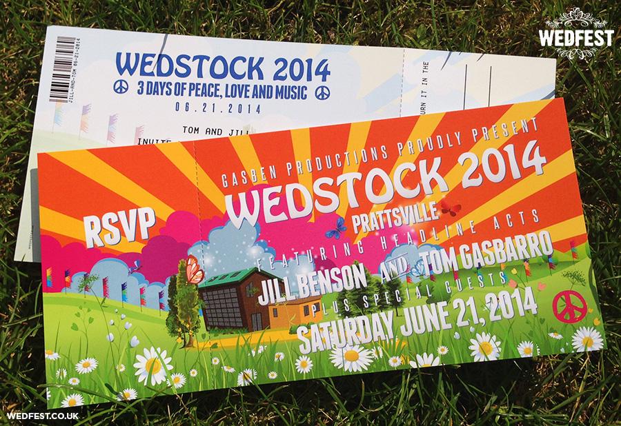 wedstock festival wedding invites