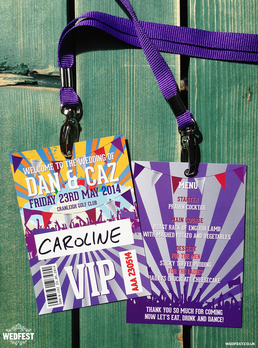 festival wedding vip lanyard menu