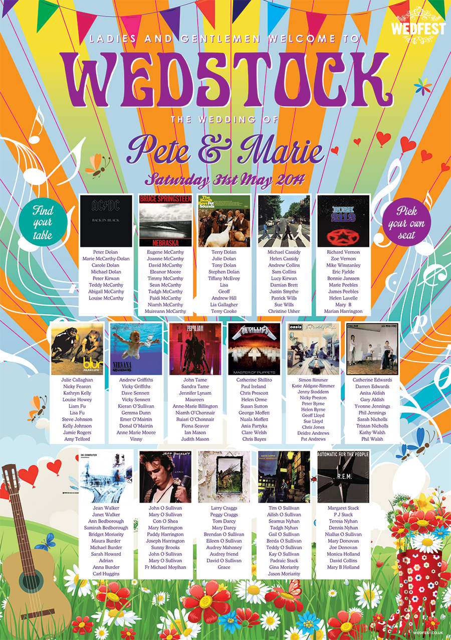 wedstock festival wedding album covers seating plan