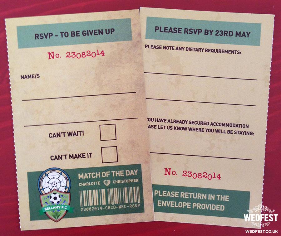 Football Ticket stub Wedding Invitations