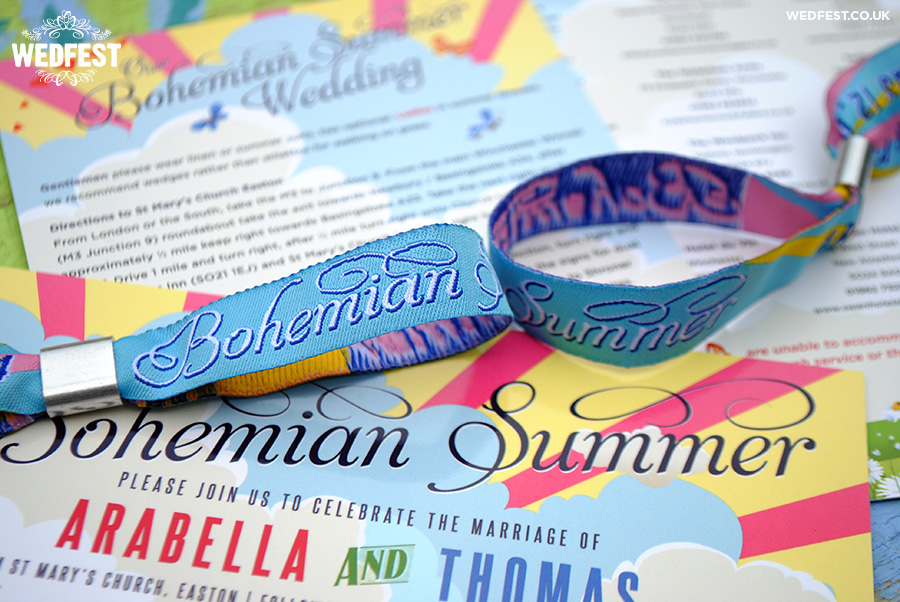 bohemian summer festival wedding stationery