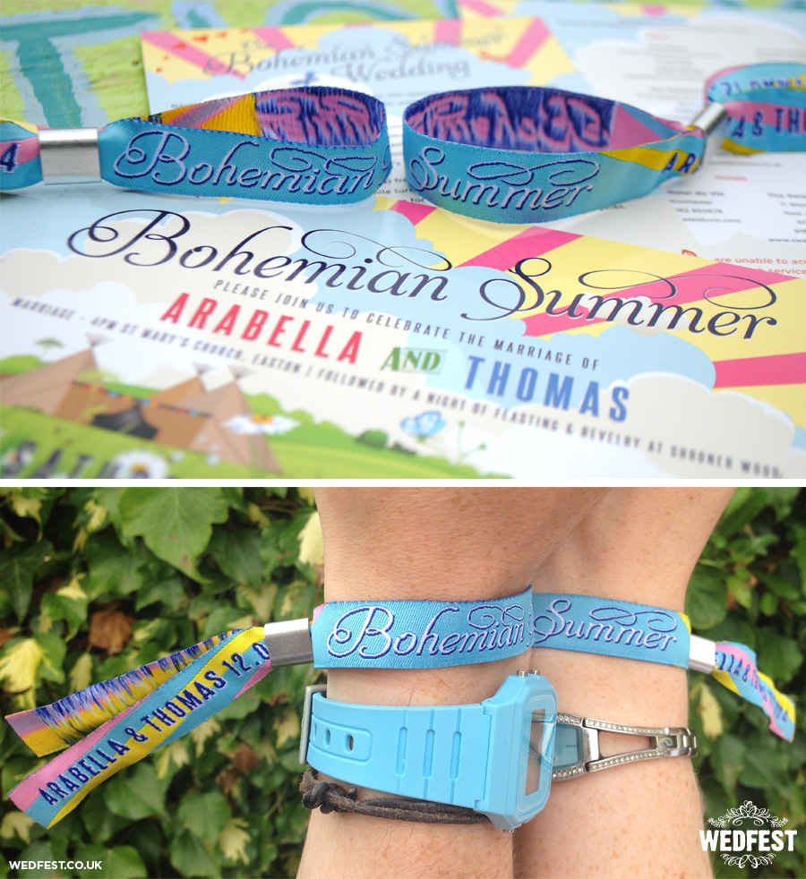 bohemian summer wedding festival wristbands