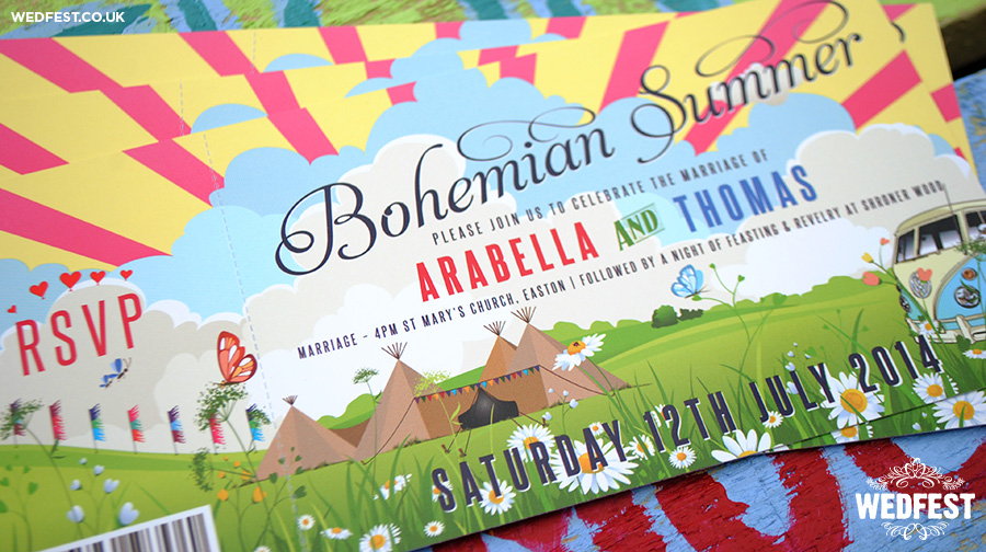bohemian summer wedding invitations