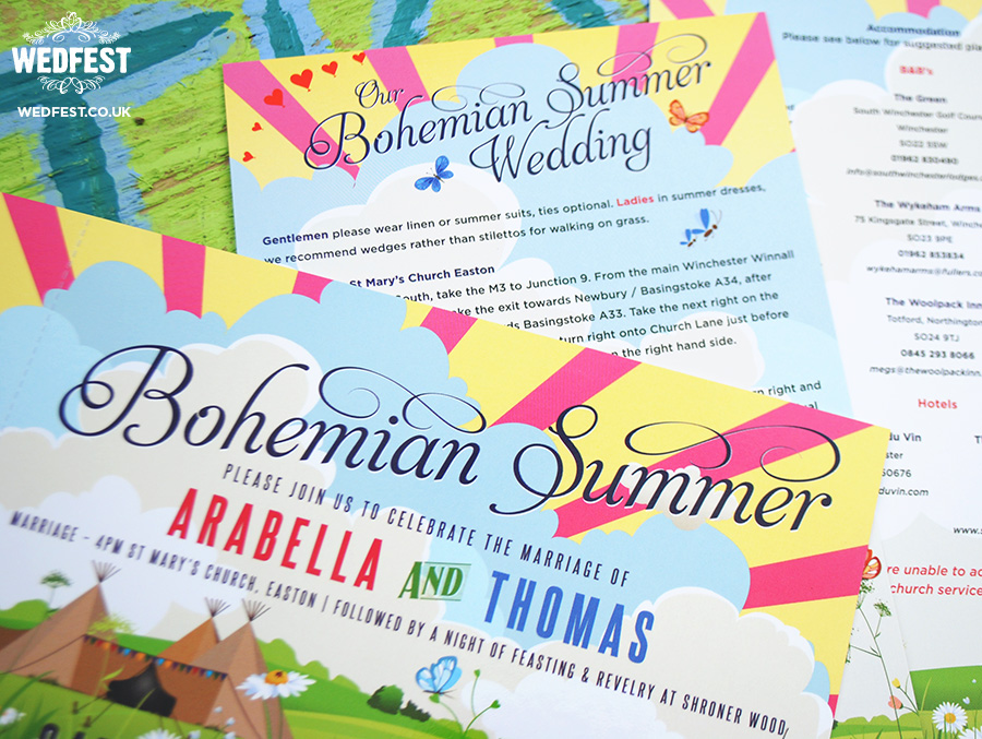 bohemian summer wedding stationery