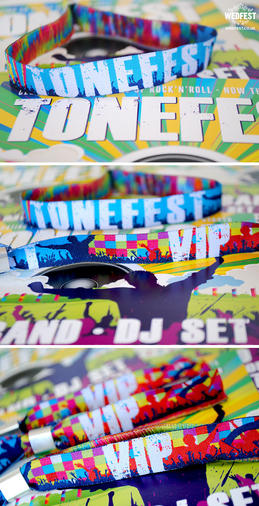 festival birthday party wristbands invites