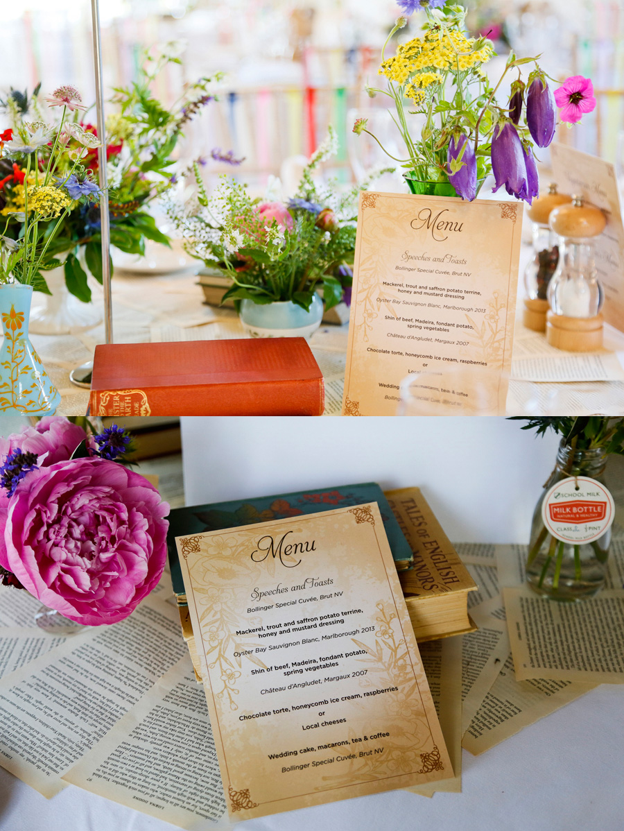 vintage wedding menus