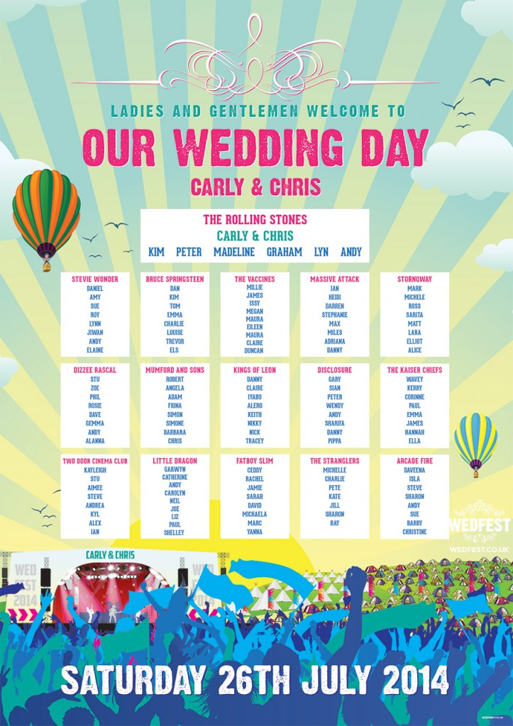concert poster wedding table plan