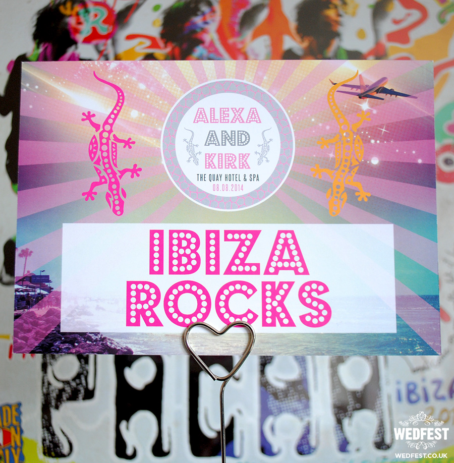 ibiza themed wedding stationery