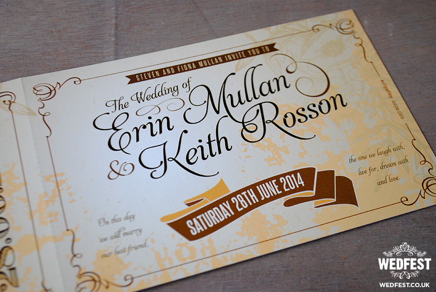 Vintage Ticket Wedding Invites  Wedfest