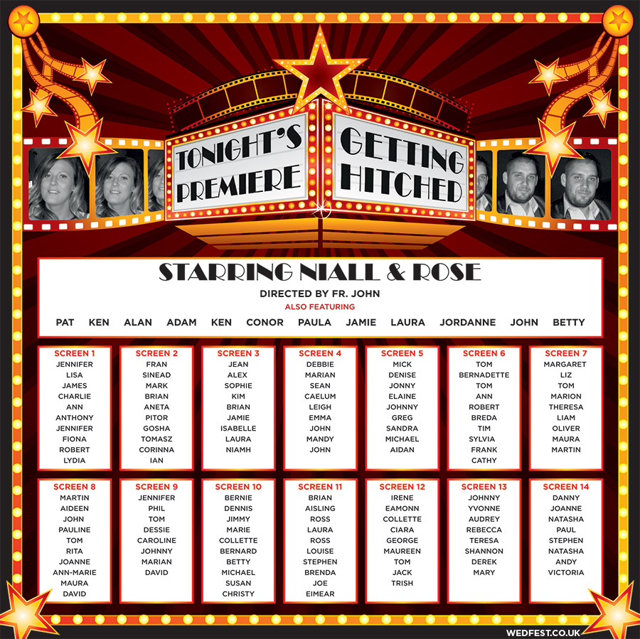 cinema themed wedding table seating plan