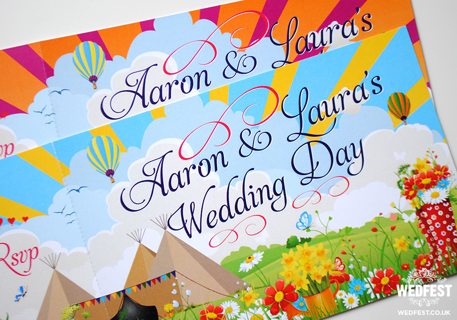 festival ticket wedding invites