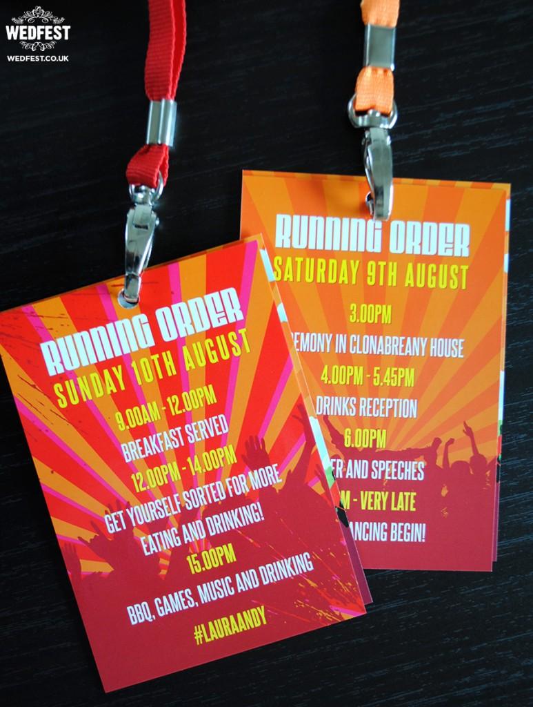 festival wedding running order vip lanyard