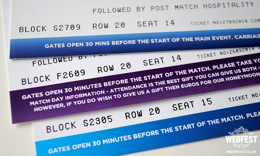 football tickets wedding invites