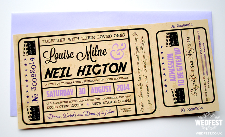 Wedding Invitation Tickets: Movie Ticket Wedding Invitations