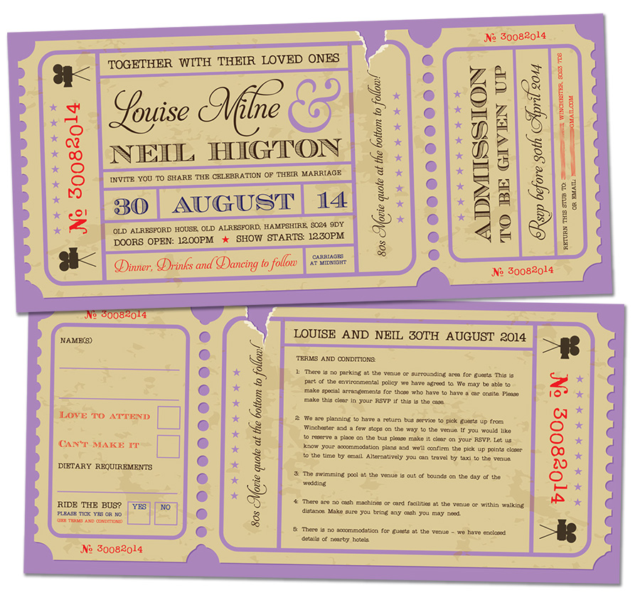 movie ticket wedding invites