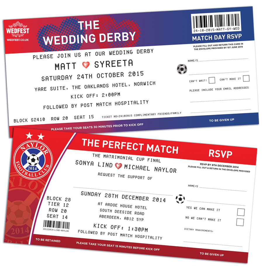 The Perfect Match Football Ticket Wedding Invites | WEDFEST