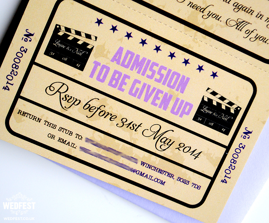 vintage cinema movie ticket wedding invitations