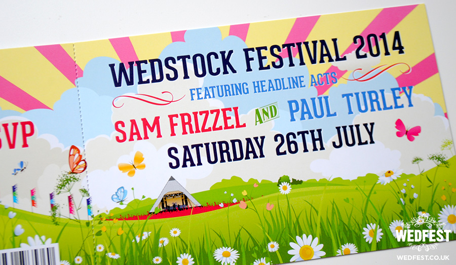 wedstock festival ticket wedding invites